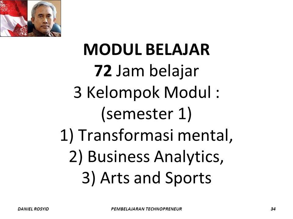 MODUL BELAJAR 72 Jam belajar 3 Kelompok Modul : (semester 1) 1) Transformasi mental, 2) Business Analytics, 3) Arts and Sports DANIEL ROSYID34PEMBELAJARAN TECHNOPRENEUR