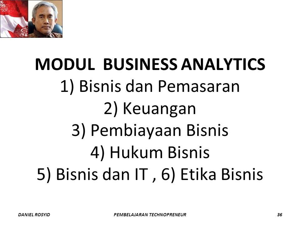 MODUL BUSINESS ANALYTICS 1) Bisnis dan Pemasaran 2) Keuangan 3) Pembiayaan Bisnis 4) Hukum Bisnis 5) Bisnis dan IT, 6) Etika Bisnis DANIEL ROSYID36PEMBELAJARAN TECHNOPRENEUR