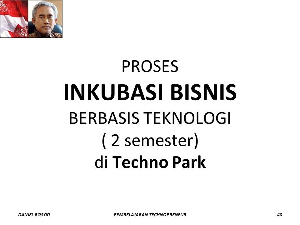 PROSES INKUBASI BISNIS BERBASIS TEKNOLOGI ( 2 semester) di Techno Park DANIEL ROSYID40PEMBELAJARAN TECHNOPRENEUR