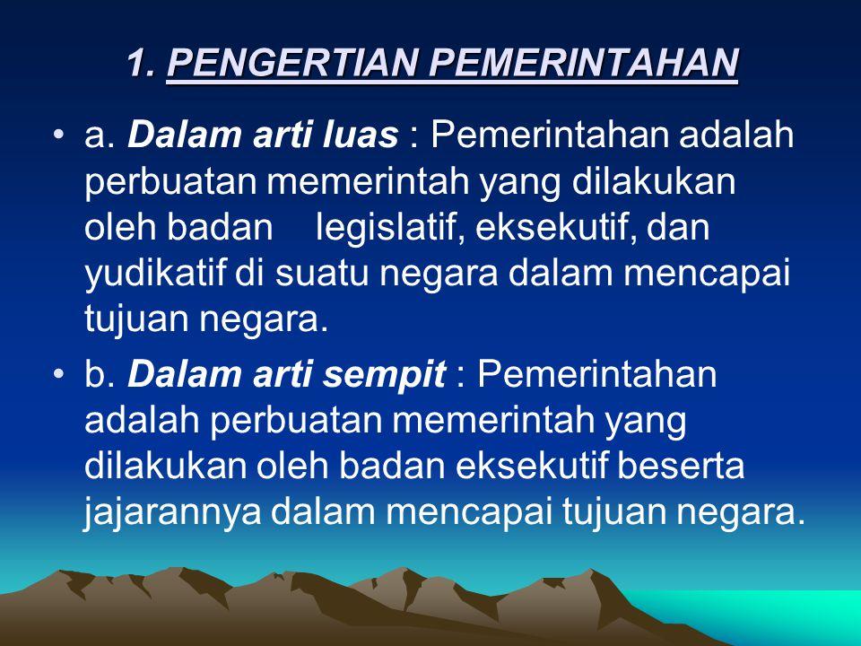 1.PENGERTIAN PEMERINTAHAN •a.