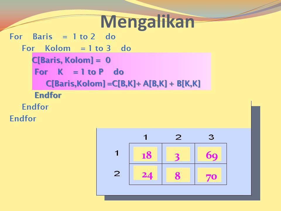 18369 24 870 Mengalikan For Baris = 1 to 2 do For Kolom = 1 to 3 do C[Baris, Kolom] = 0 C[Baris, Kolom] = 0 For K = 1 to P do For K = 1 to P do C[Baris,Kolom] =C[B,K]+ A[B,K] + B[K,K] C[Baris,Kolom] =C[B,K]+ A[B,K] + B[K,K] Endfor Endfor Endfor
