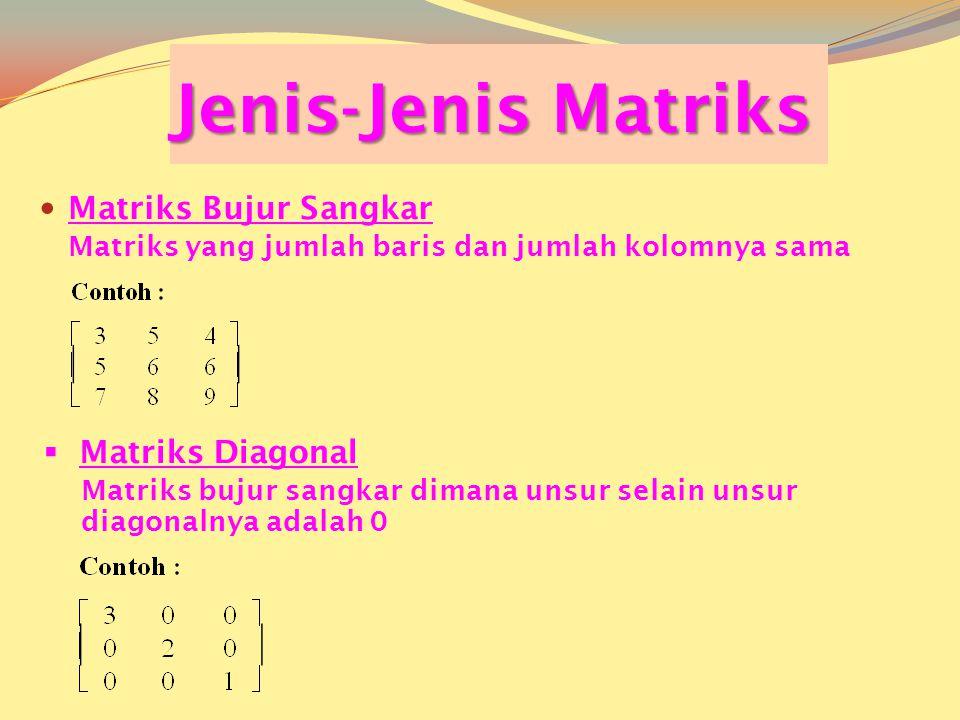 Jenis-Jenis Matriks  Matriks Bujur Sangkar Matriks yang jumlah baris dan jumlah kolomnya sama  Matriks Diagonal Matriks bujur sangkar dimana unsur selain unsur diagonalnya adalah 0