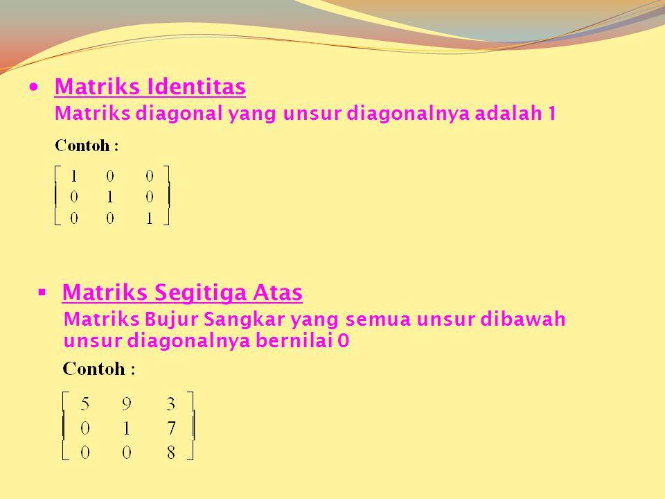  Matriks Identitas Matriks diagonal yang unsur diagonalnya adalah 1  Matriks Segitiga Atas Matriks Bujur Sangkar yang semua unsur dibawah unsur diagonalnya bernilai 0