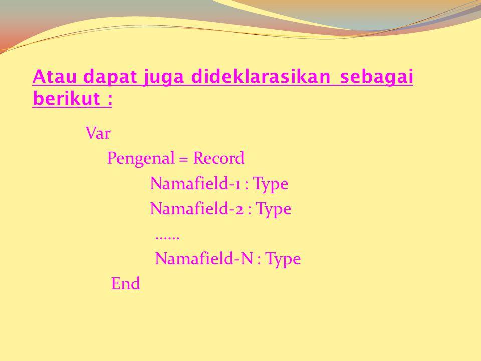 Deklarasi Penulisan Type Pengenal = Record Namafield-1 : Type Namafield-2 : Type …… Namafield-N : Type End