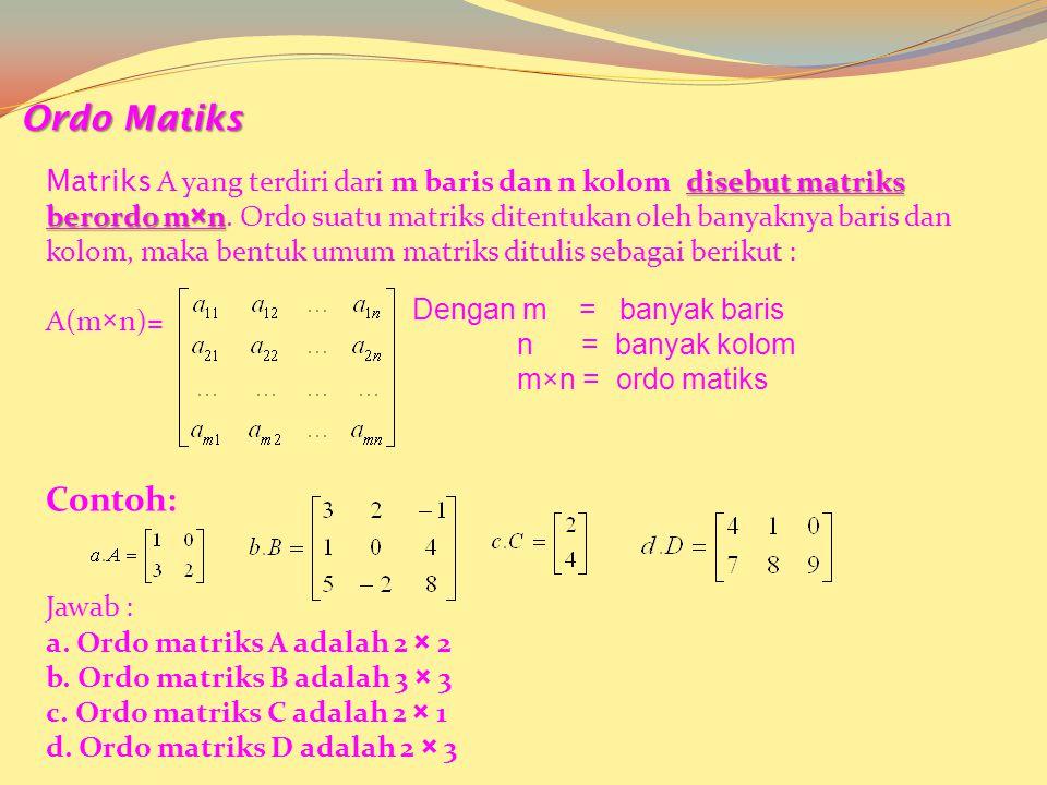 Bentuk Umum : Kolom Ke- 1 Kolom Ke-2 Kolom Ke- n … Baris ke-1 Baris ke-2 Baris ke-m …. Bilangan yang tersusun dalam kolom dan baris disebut elemen ata
