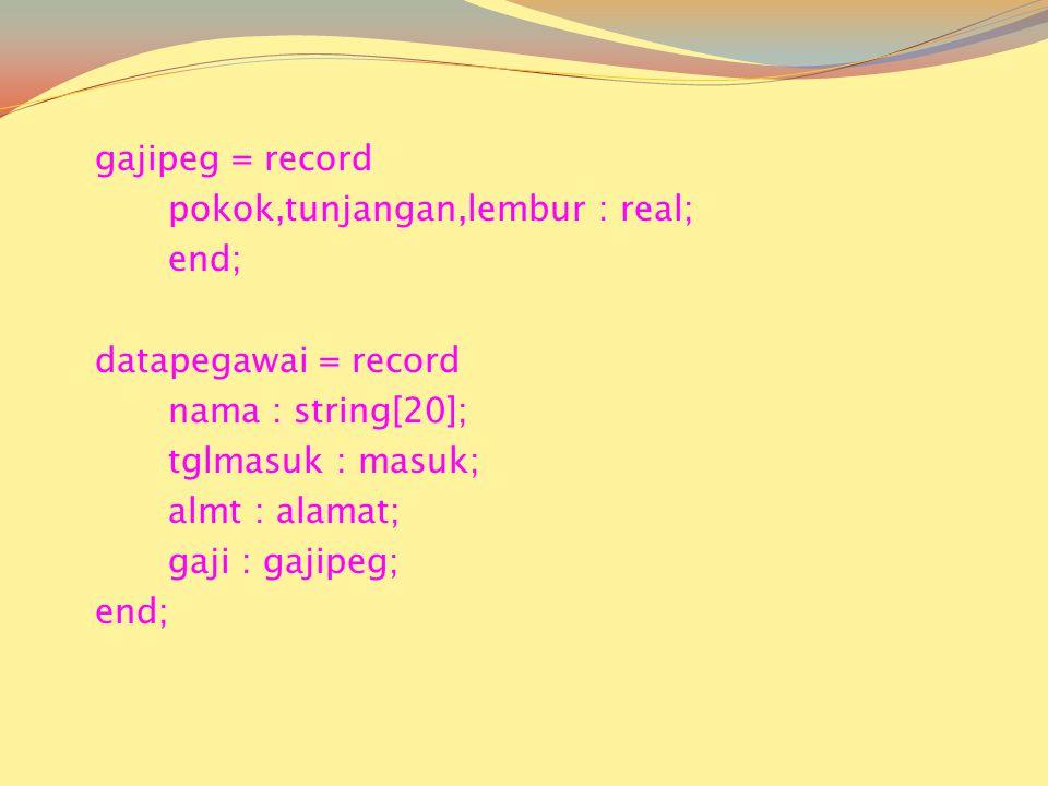 gajipeg = record pokok,tunjangan,lembur : real; end; datapegawai = record nama : string[20]; tglmasuk : masuk; almt : alamat; gaji : gajipeg; end;