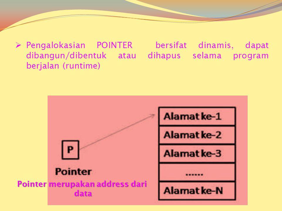  Pengalokasian POINTER bersifat dinamis, dapat dibangun/dibentuk atau dihapus selama program berjalan (runtime) Pointer merupakan address dari data