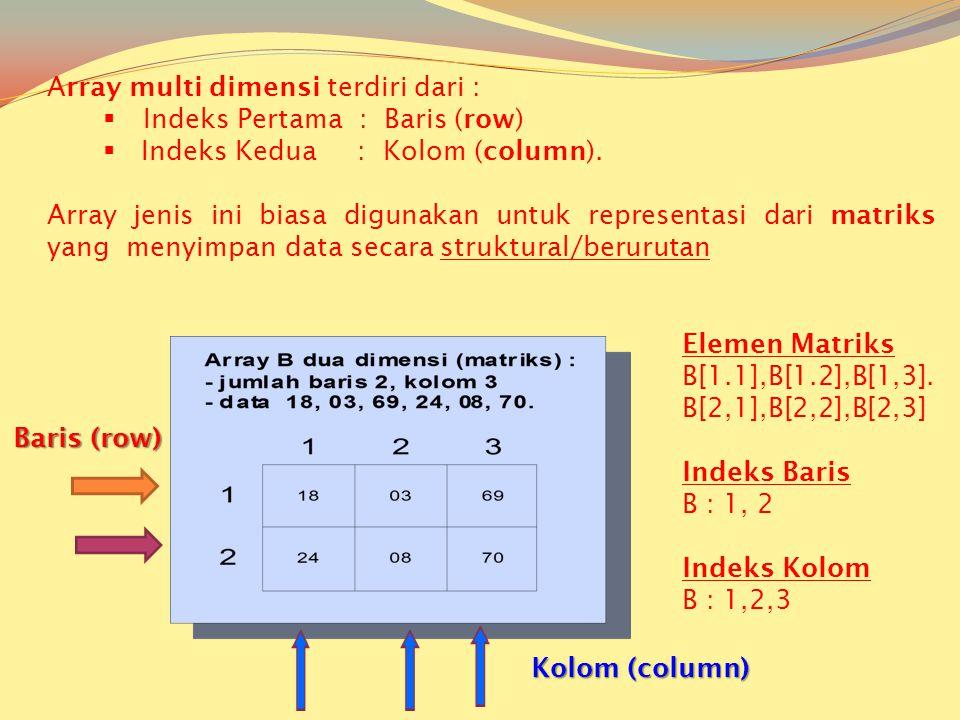 Matriks adalah struktur data yang mengacu [ada Sebuah/sekumpulan elemen yang diakses melalui indeks Keuntungan & kerugiannya KEUNTUNGAN 1.Paling mudah dioperasikan 2.Ekonomis dalam pemakaian memori, bila semua elemen terisi 3.Akses ke setiap elemen memerlukan waktu yang samaKERUGIAN 1.