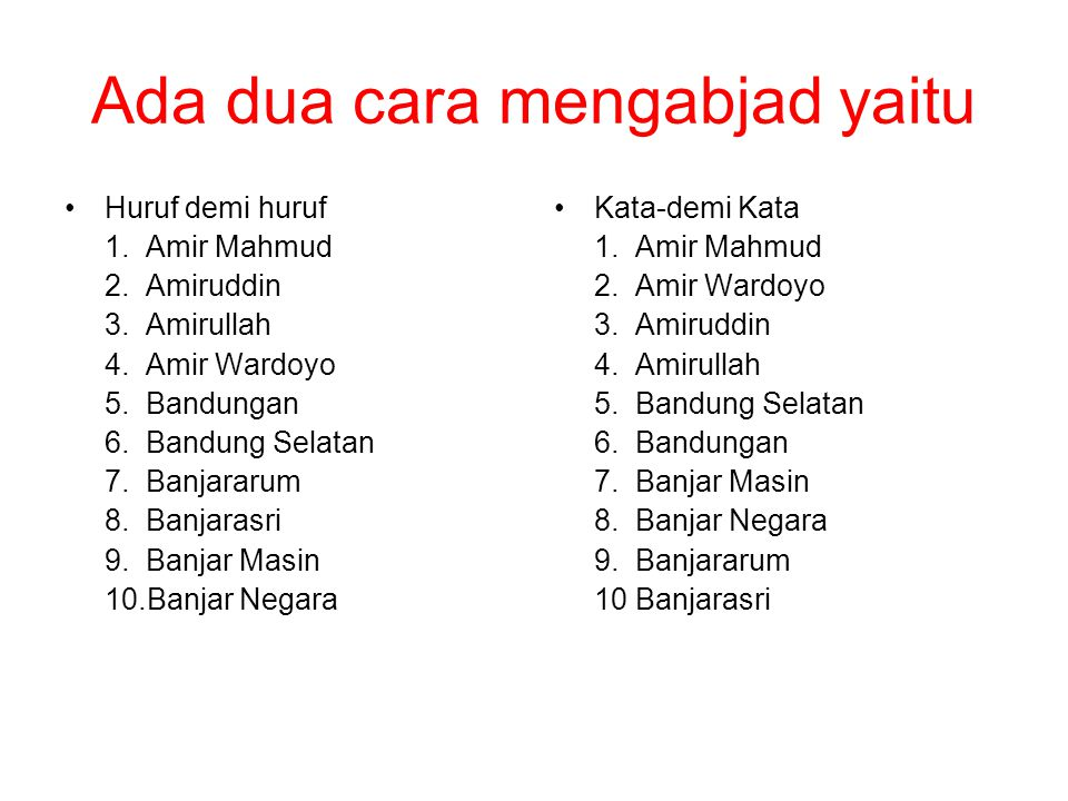 Ada dua cara mengabjad yaitu •Huruf demi huruf 1. Amir Mahmud 2. Amiruddin 3. Amirullah 4. Amir Wardoyo 5. Bandungan 6. Bandung Selatan 7. Banjararum