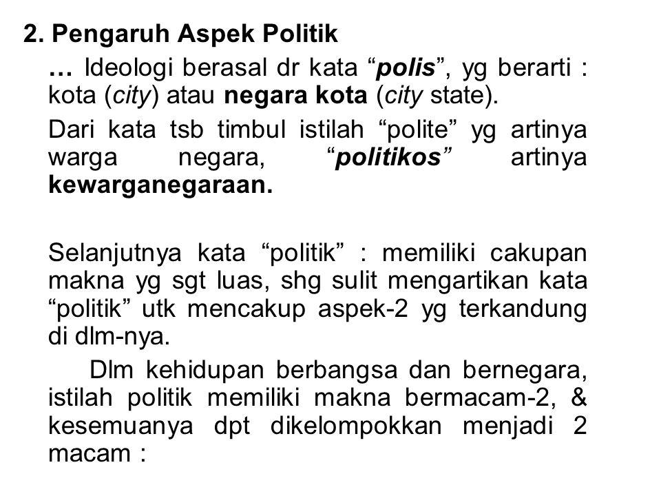 """2. Pengaruh Aspek Politik … Ideologi berasal dr kata """"polis"""", yg berarti : kota (city) atau negara kota (city state). Dari kata tsb timbul istilah """"po"""