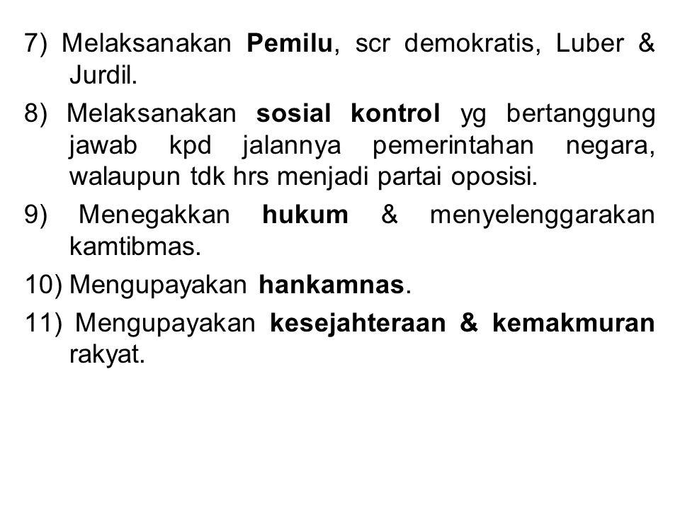 7) Melaksanakan Pemilu, scr demokratis, Luber & Jurdil. 8) Melaksanakan sosial kontrol yg bertanggung jawab kpd jalannya pemerintahan negara, walaupun