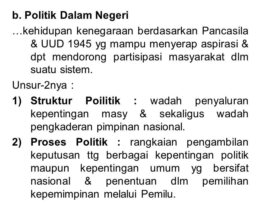 b. Politik Dalam Negeri …kehidupan kenegaraan berdasarkan Pancasila & UUD 1945 yg mampu menyerap aspirasi & dpt mendorong partisipasi masyarakat dlm s