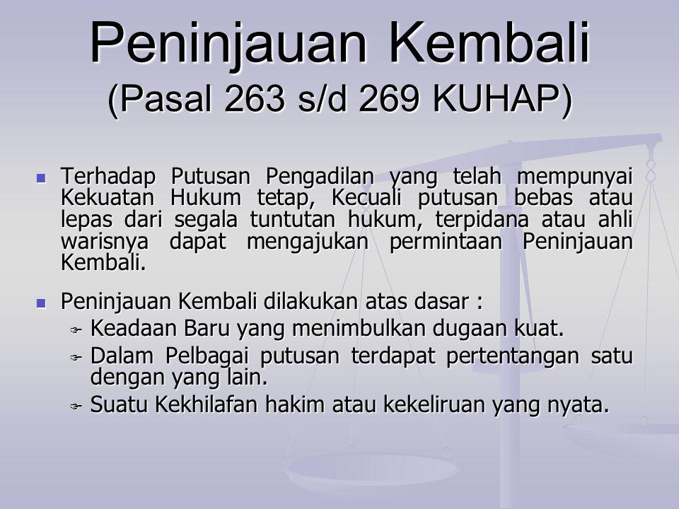 Peninjauan Kembali (Pasal 263 s/d 269 KUHAP)  Terhadap Putusan Pengadilan yang telah mempunyai Kekuatan Hukum tetap, Kecuali putusan bebas atau lepas