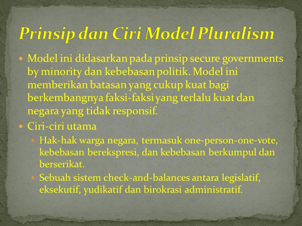  Model ini didasarkan pada prinsip secure governments by minority dan kebebasan politik. Model ini memberikan batasan yang cukup kuat bagi berkembang