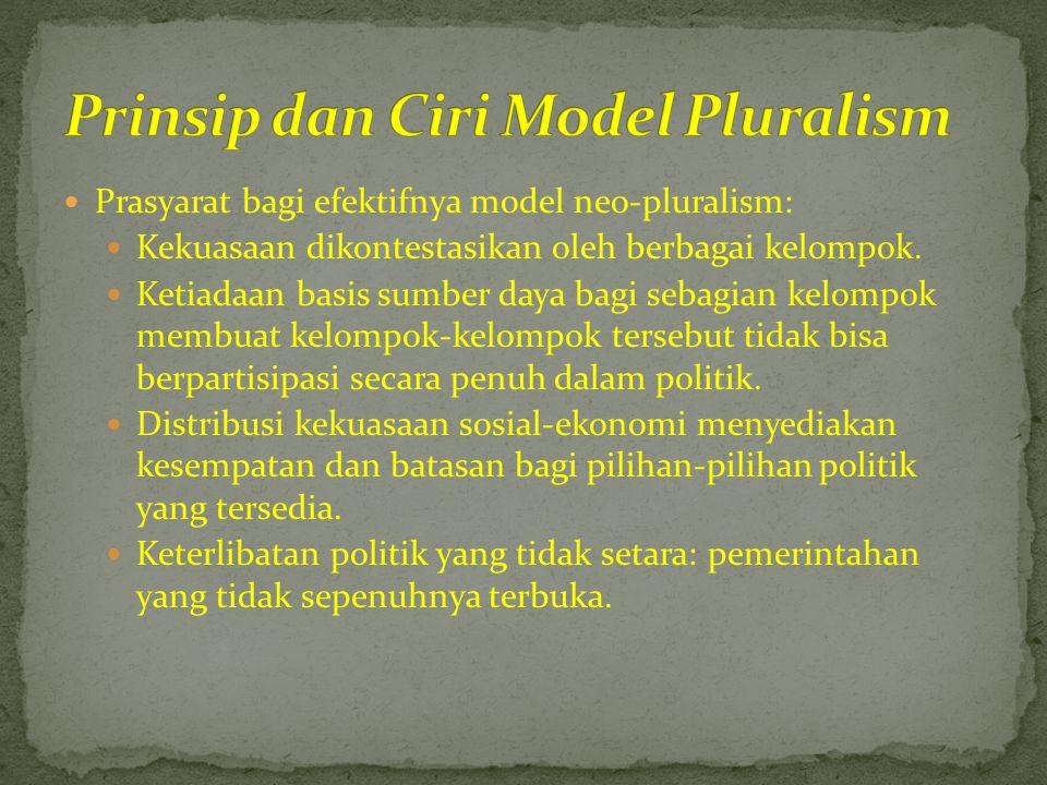  Prasyarat bagi efektifnya model neo-pluralism:  Kekuasaan dikontestasikan oleh berbagai kelompok.  Ketiadaan basis sumber daya bagi sebagian kelom