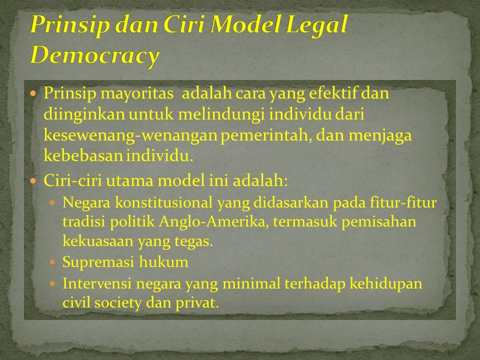  Prinsip mayoritas adalah cara yang efektif dan diinginkan untuk melindungi individu dari kesewenang-wenangan pemerintah, dan menjaga kebebasan indiv