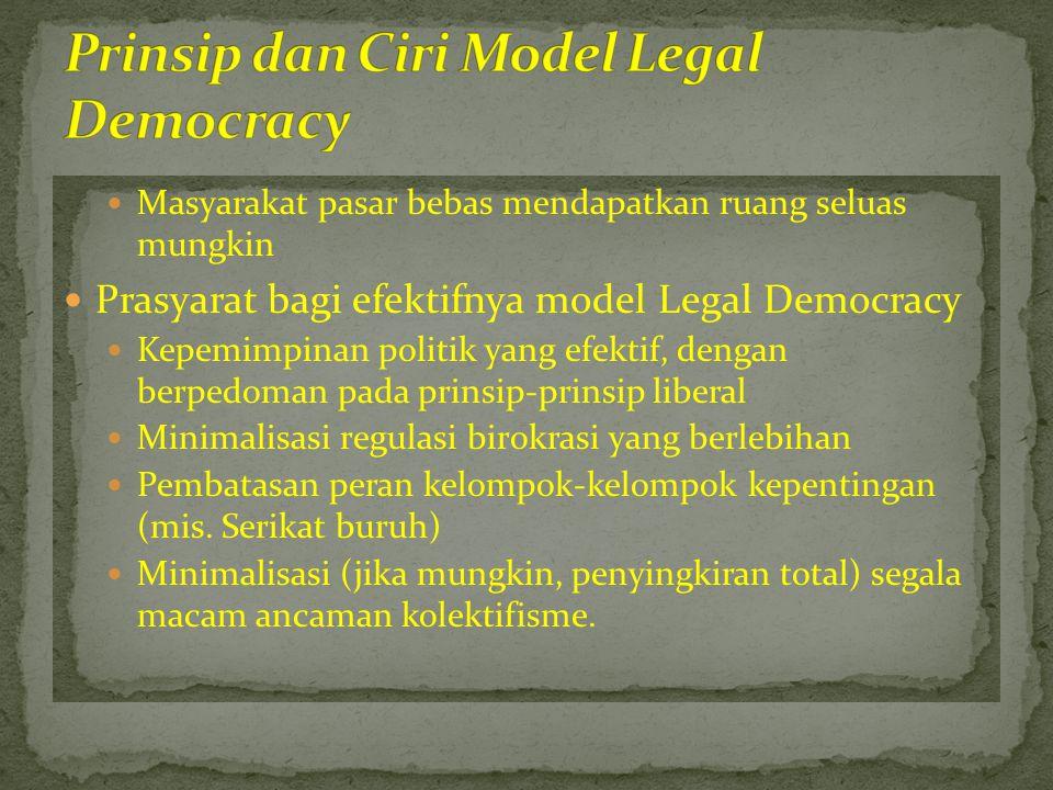  Masyarakat pasar bebas mendapatkan ruang seluas mungkin  Prasyarat bagi efektifnya model Legal Democracy  Kepemimpinan politik yang efektif, denga