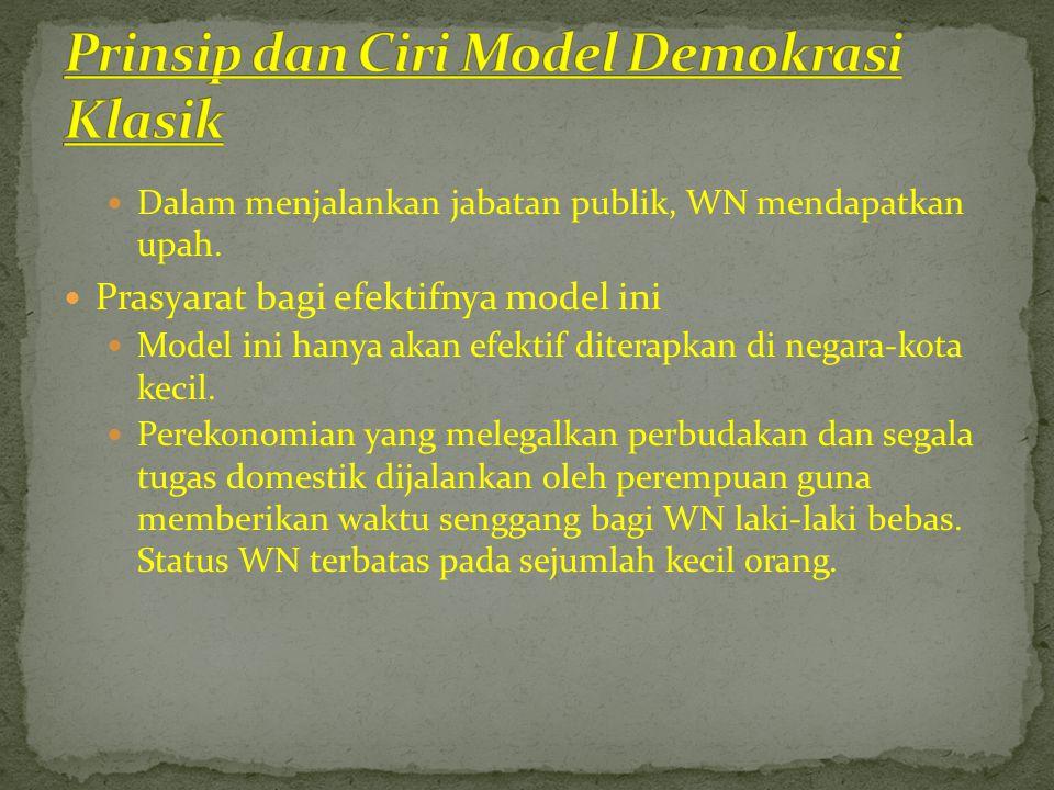  Dalam menjalankan jabatan publik, WN mendapatkan upah.  Prasyarat bagi efektifnya model ini  Model ini hanya akan efektif diterapkan di negara-kot