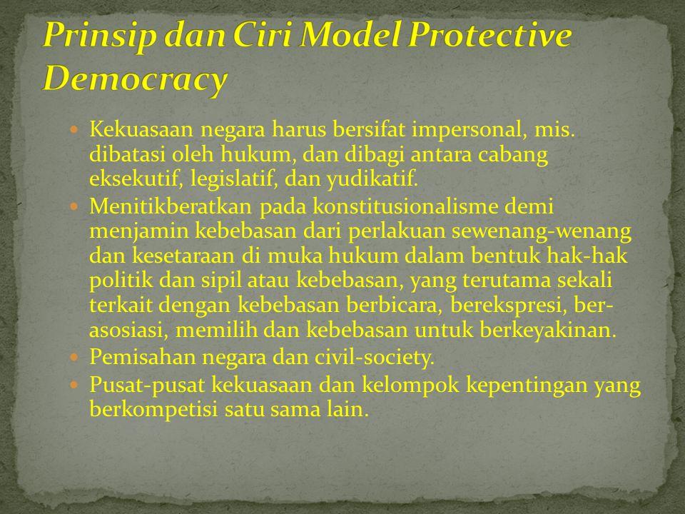  Prasyarat bagi efektifnya model ini  Adanya suatu civil society yang otonom secara politik.
