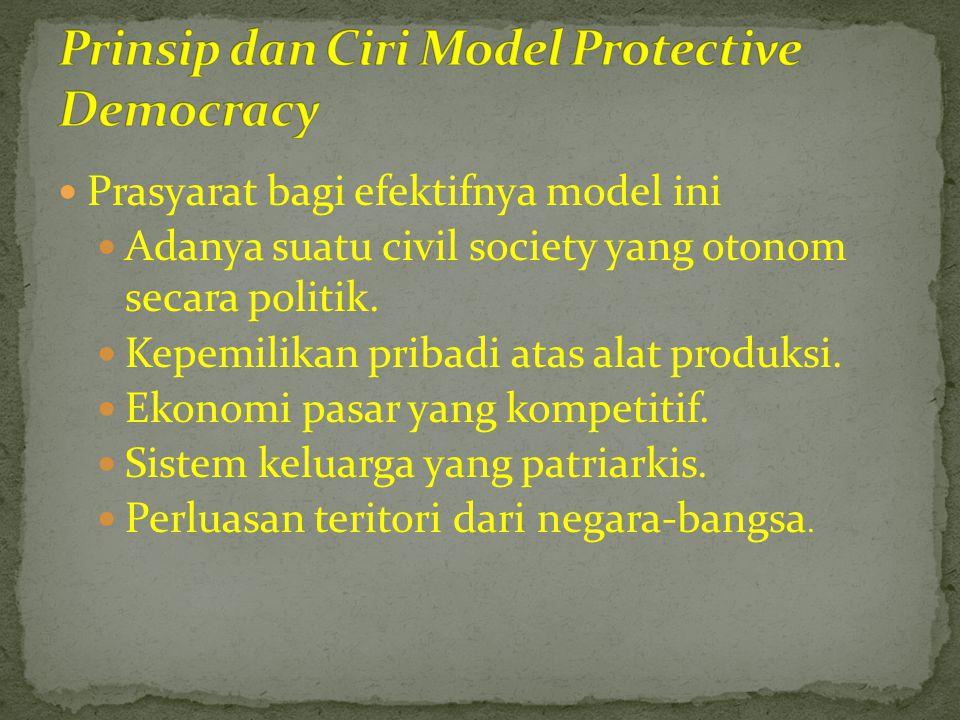  Prasyarat bagi efektifnya model ini  Adanya suatu civil society yang otonom secara politik.  Kepemilikan pribadi atas alat produksi.  Ekonomi pas