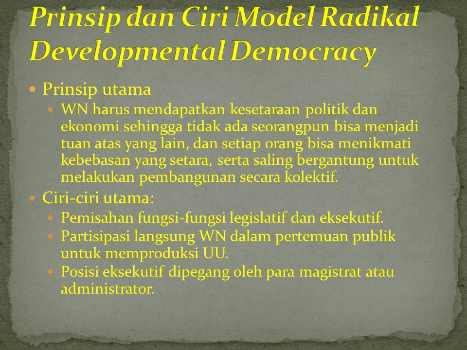  Prinsip-prinsip dasar  Metode penyeleksian seorang elit politik yang terampil dan imajinatif, yang mampu membuat berbagai keputusan legislatif dan administratif yang diperlukan.