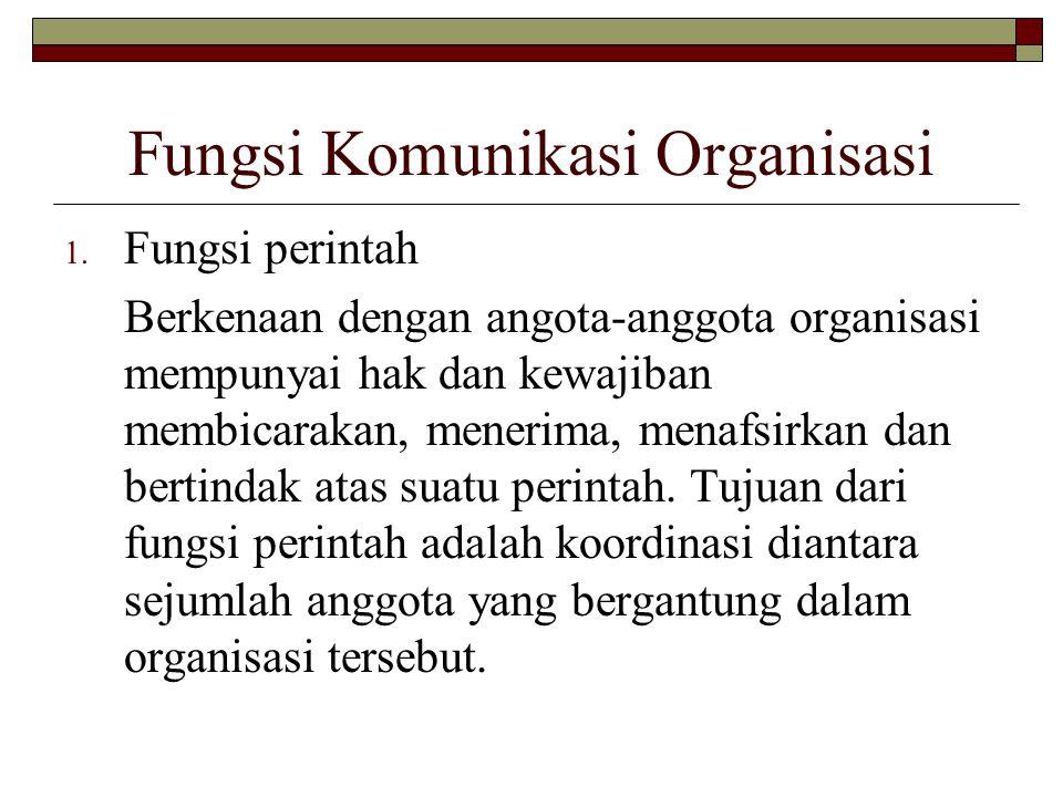 Fungsi Komunikasi Organisasi 1. Fungsi perintah Berkenaan dengan angota-anggota organisasi mempunyai hak dan kewajiban membicarakan, menerima, menafsi