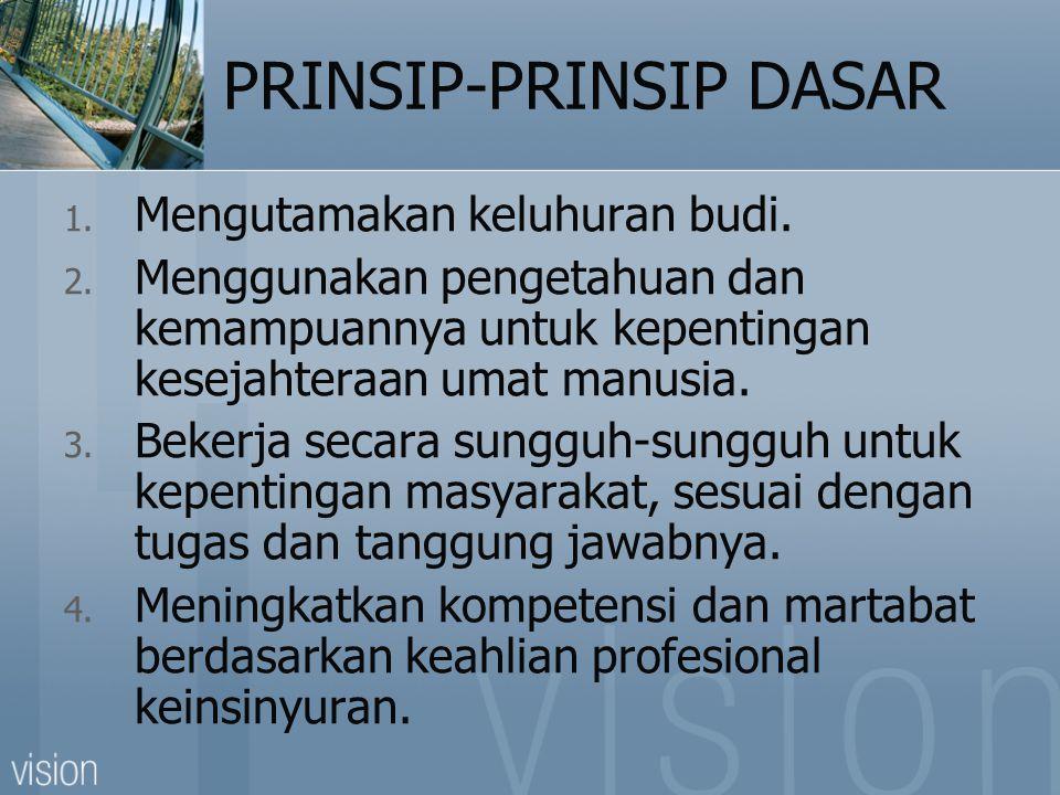 PRINSIP-PRINSIP DASAR 1. Mengutamakan keluhuran budi.