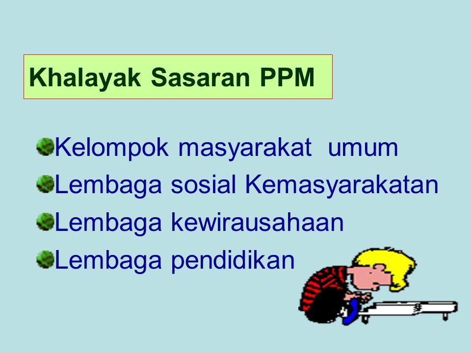 Khalayak Sasaran PPM Kelompok masyarakat umum Lembaga sosial Kemasyarakatan Lembaga kewirausahaan Lembaga pendidikan