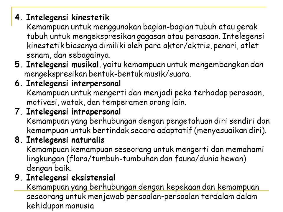 4. Intelegensi kinestetik Kemampuan untuk menggunakan bagian-bagian tubuh atau gerak tubuh untuk mengekspresikan gagasan atau perasaan. Intelegensi ki