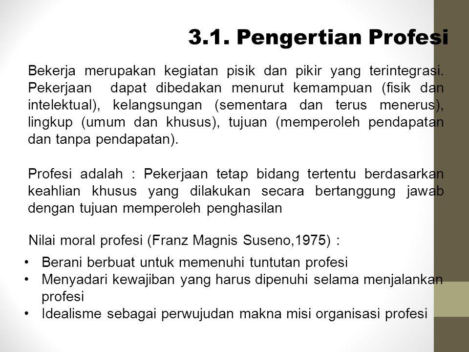 3.1. Pengertian Profesi Bekerja merupakan kegiatan pisik dan pikir yang terintegrasi. Pekerjaan dapat dibedakan menurut kemampuan (fisik dan intelektu