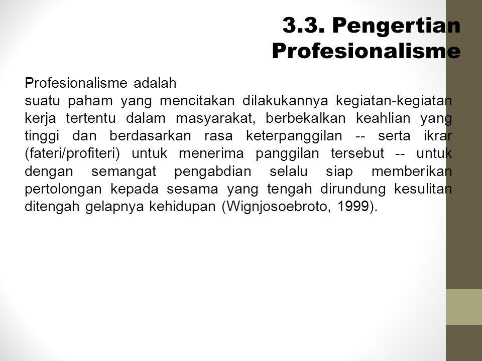 3.3. Pengertian Profesionalisme Profesionalisme adalah suatu paham yang mencitakan dilakukannya kegiatan-kegiatan kerja tertentu dalam masyarakat, ber