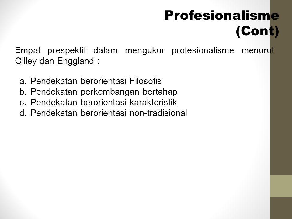 Empat prespektif dalam mengukur profesionalisme menurut Gilley dan Enggland : Profesionalisme (Cont) a.Pendekatan berorientasi Filosofis b.Pendekatan