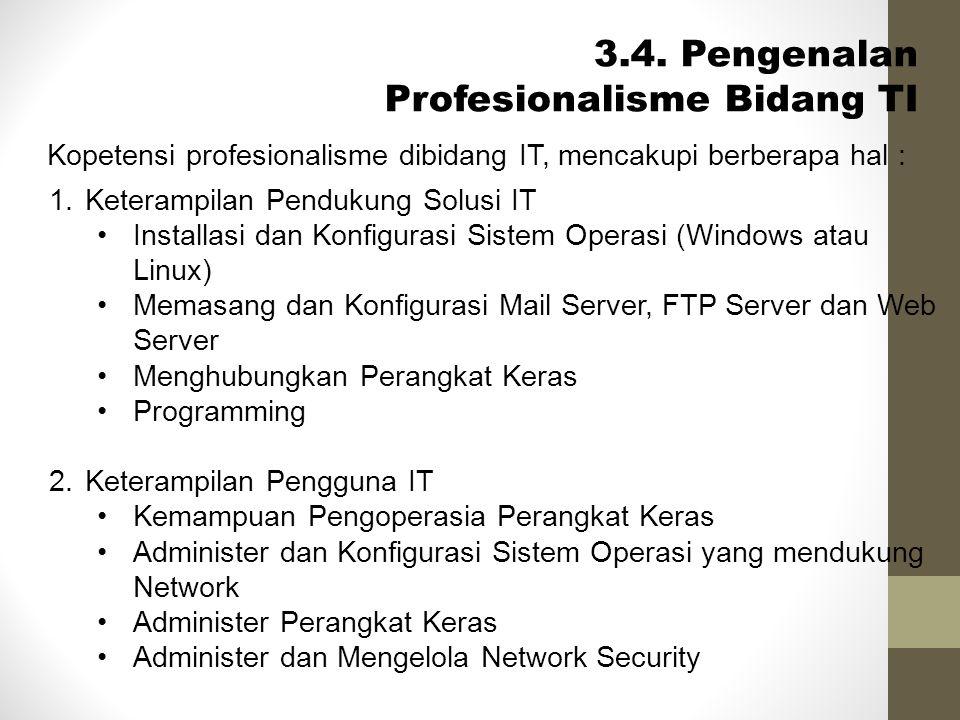 Kopetensi profesionalisme dibidang IT, mencakupi berberapa hal : 3.4. Pengenalan Profesionalisme Bidang TI 1.Keterampilan Pendukung Solusi IT •Install