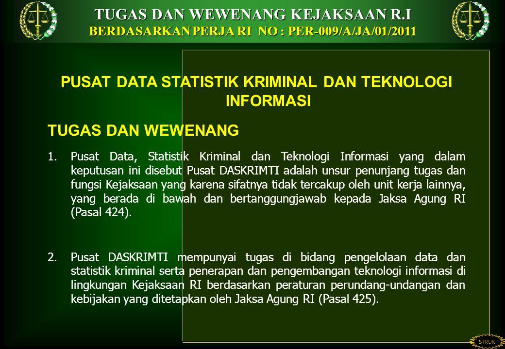 TUGAS DAN WEWENANG KEJAKSAAN R.I BERDASARKAN PERJA RI NO : PER-009/A/JA/01/2011 STRUK PUSAT DATA STATISTIK KRIMINAL DAN TEKNOLOGI INFORMASI TUGAS DAN WEWENANG 1.Pusat Data, Statistik Kriminal dan Teknologi Informasi yang dalam keputusan ini disebut Pusat DASKRIMTI adalah unsur penunjang tugas dan fungsi Kejaksaan yang karena sifatnya tidak tercakup oleh unit kerja lainnya, yang berada di bawah dan bertanggungjawab kepada Jaksa Agung RI (Pasal 424).