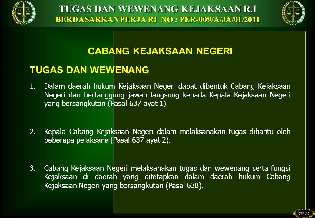 TUGAS DAN WEWENANG KEJAKSAAN R.I BERDASARKAN PERJA RI NO : PER-009/A/JA/01/2011 STRUK CABANG KEJAKSAAN NEGERI TUGAS DAN WEWENANG 1.Dalam daerah hukum Kejaksaan Negeri dapat dibentuk Cabang Kejaksaan Negeri dan bertanggung jawab langsung kepada Kepala Kejaksaan Negeri yang bersangkutan (Pasal 637 ayat 1).
