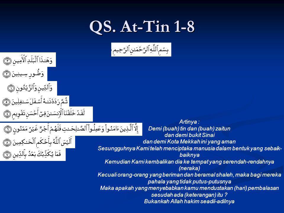 QS. At-Tin 1-8 Artinya : Demi (buah) tin dan (buah) zaitun dan demi bukit Sinai dan demi Kota Mekkah ini yang aman Sesungguhnya Kami telah menciptaka