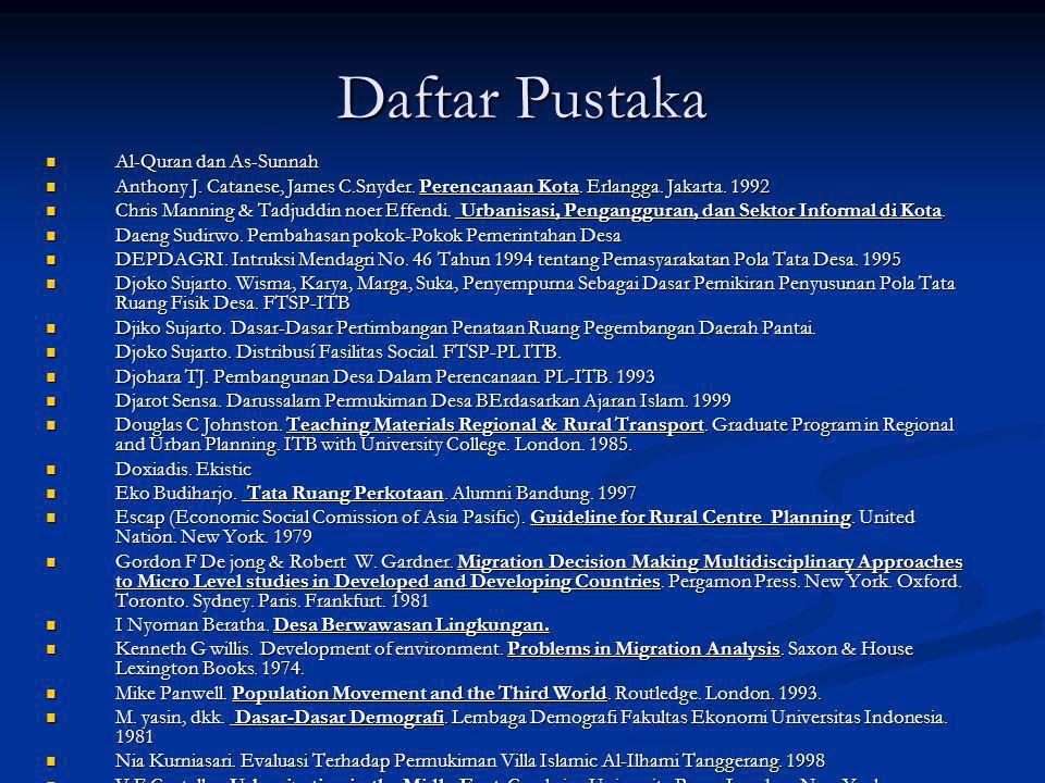 Daftar Pustaka  Al-Quran dan As-Sunnah  Anthony J. Catanese, James C.Snyder. Perencanaan Kota. Erlangga. Jakarta. 1992  Chris Manning & Tadjuddin n
