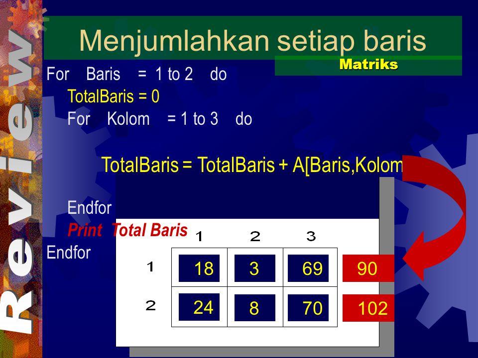 18369 24 870 Menjumlahkan setiap baris Matriks For Baris = 1 to 2 do TotalBaris = 0 For Kolom = 1 to 3 do TotalBaris = TotalBaris + A[Baris,Kolom] Endfor Print Total Baris Endfor 90 102