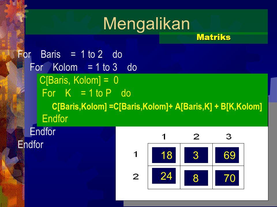 18369 24 870 Mengalikan Matriks For Baris = 1 to 2 do For Kolom = 1 to 3 do C[Baris, Kolom] = 0 For K = 1 to P do C[Baris,Kolom] =C[Baris,Kolom]+ A[Baris,K] + B[K,Kolom] Endfor