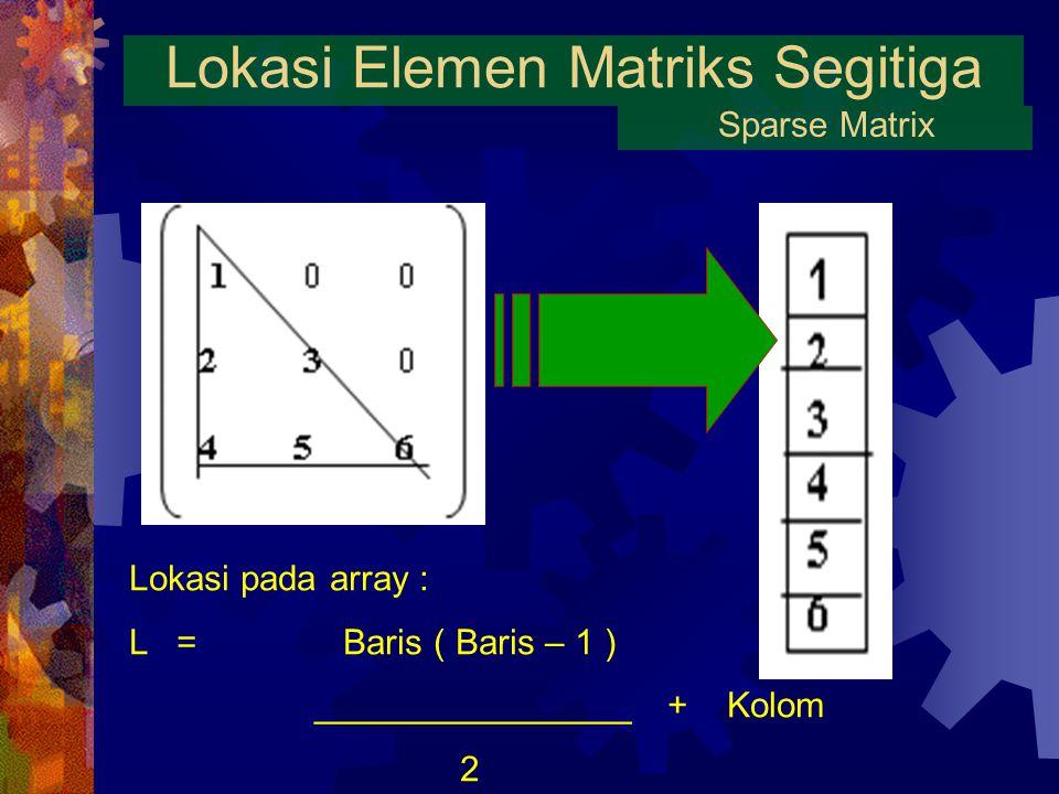 Lokasi Elemen Matriks Segitiga Sparse Matrix Lokasi pada array : L = Baris ( Baris – 1 ) ________________ + Kolom 2