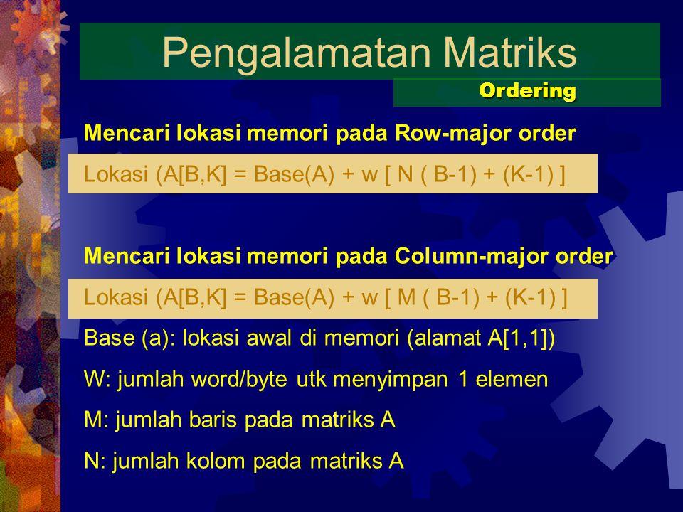 Pengalamatan Matriks Ordering Mencari lokasi memori pada Row-major order Lokasi (A[B,K] = Base(A) + w [ N ( B-1) + (K-1) ] Mencari lokasi memori pada Column-major order Lokasi (A[B,K] = Base(A) + w [ M ( B-1) + (K-1) ] Base (a): lokasi awal di memori (alamat A[1,1]) W: jumlah word/byte utk menyimpan 1 elemen M: jumlah baris pada matriks A N: jumlah kolom pada matriks A
