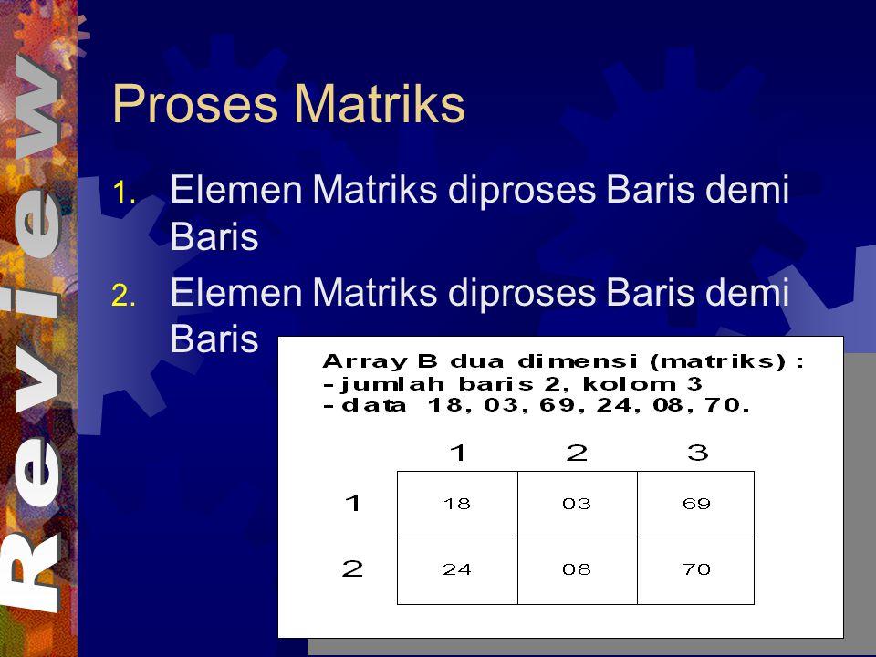 Proses Matriks 1.Elemen Matriks diproses Baris demi Baris 2.