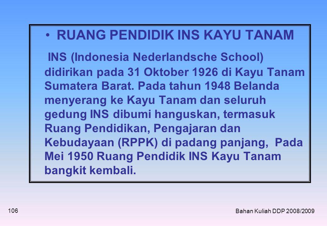 •RUANG PENDIDIK INS KAYU TANAM INS (Indonesia Nederlandsche School) didirikan pada 31 Oktober 1926 di Kayu Tanam Sumatera Barat.