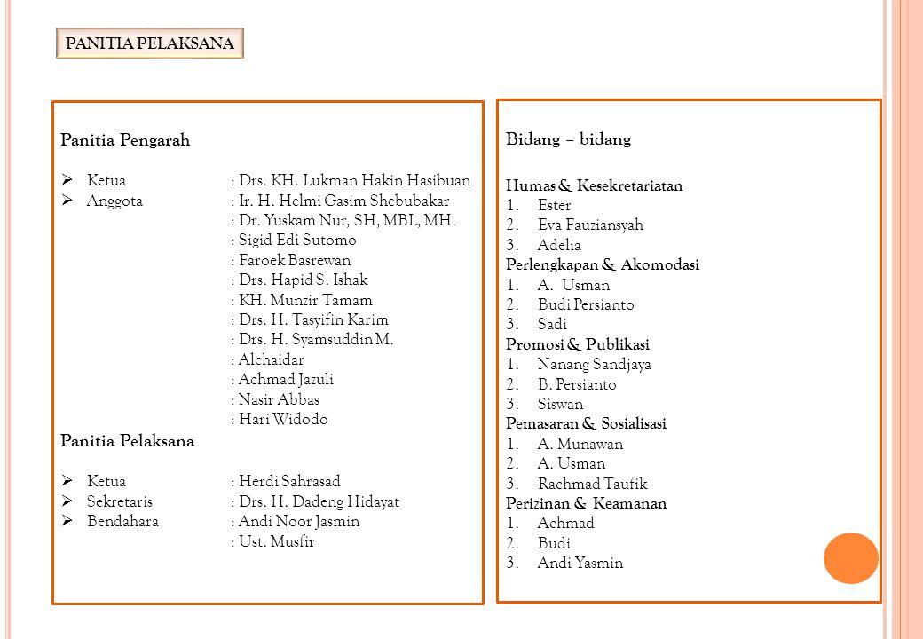 PANITIA PELAKSANA Panitia Pengarah  Ketua: Drs. KH. Lukman Hakin Hasibuan  Anggota: Ir. H. Helmi Gasim Shebubakar : Dr. Yuskam Nur, SH, MBL, MH. : S