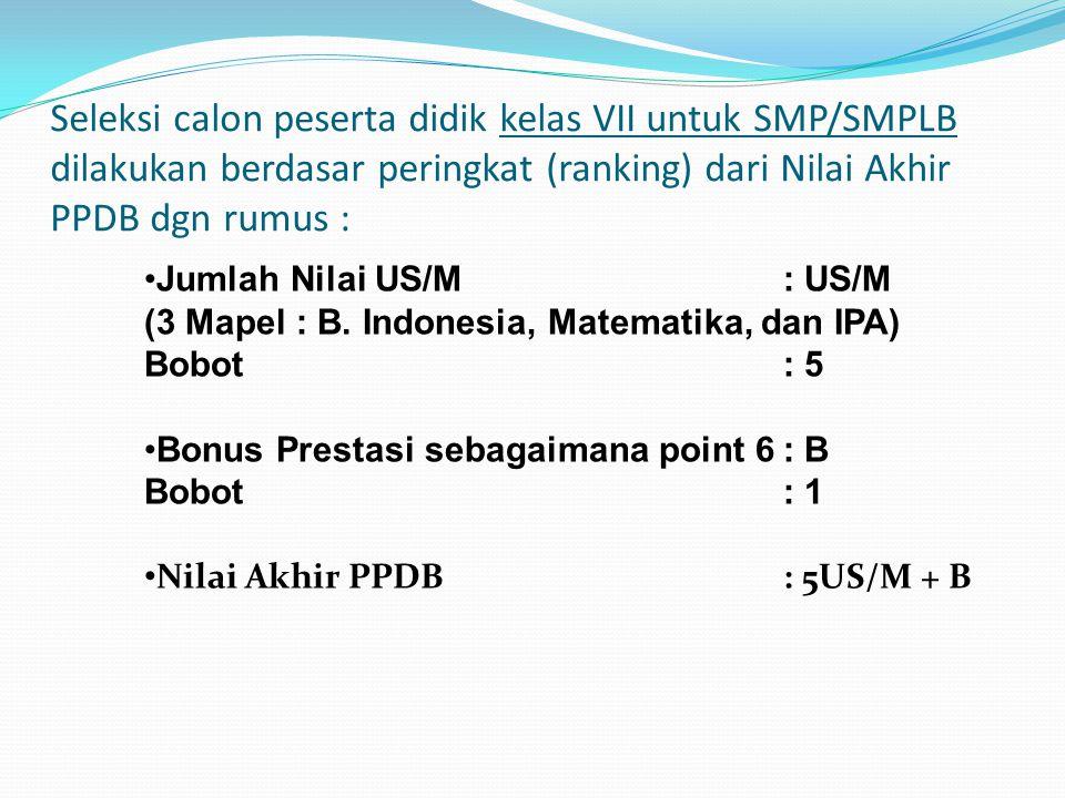 Seleksi calon peserta didik kelas VII untuk SMP/SMPLB dilakukan berdasar peringkat (ranking) dari Nilai Akhir PPDB dgn rumus : •Jumlah Nilai US/M : US/M (3 Mapel : B.
