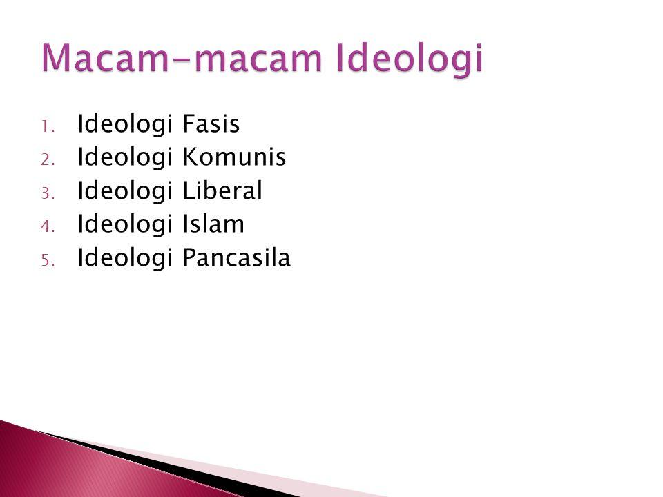1. Ideologi Fasis 2. Ideologi Komunis 3. Ideologi Liberal 4. Ideologi Islam 5. Ideologi Pancasila