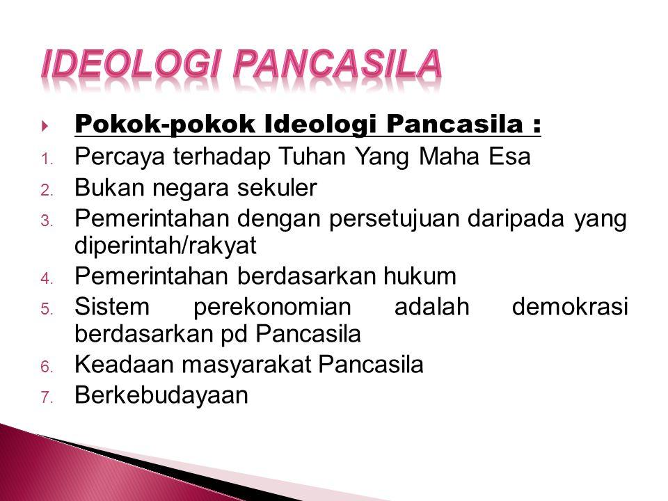  Pokok-pokok Ideologi Pancasila : 1.Percaya terhadap Tuhan Yang Maha Esa 2.