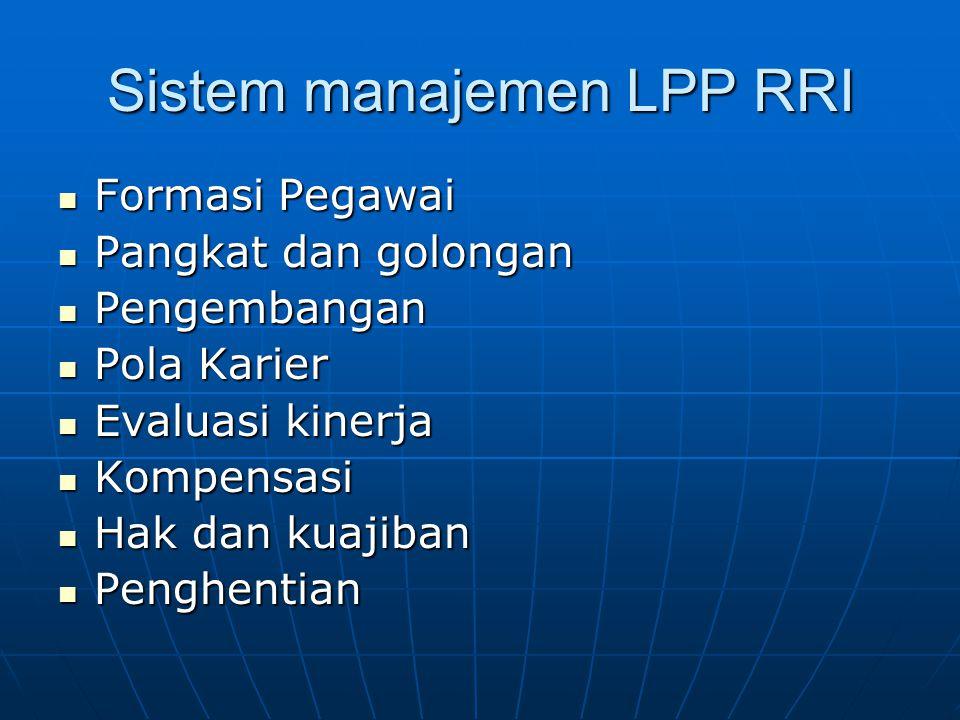 Sistem manajemen LPP RRI  Formasi Pegawai  Pangkat dan golongan  Pengembangan  Pola Karier  Evaluasi kinerja  Kompensasi  Hak dan kuajiban  Pe