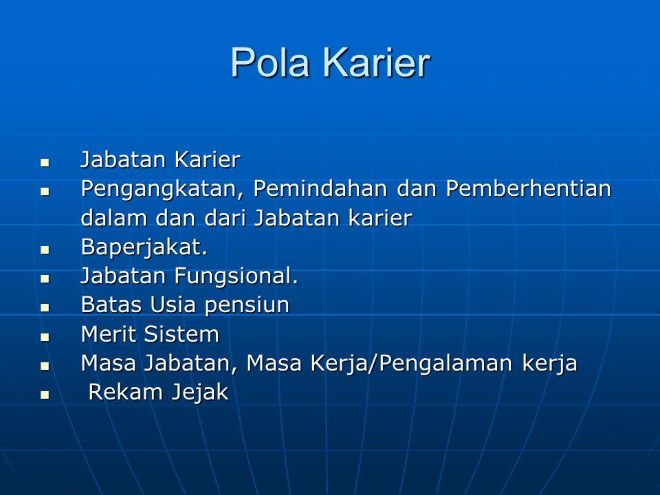 Pola Karier  Jabatan Karier  Pengangkatan, Pemindahan dan Pemberhentian dalam dan dari Jabatan karier dalam dan dari Jabatan karier  Baperjakat. 