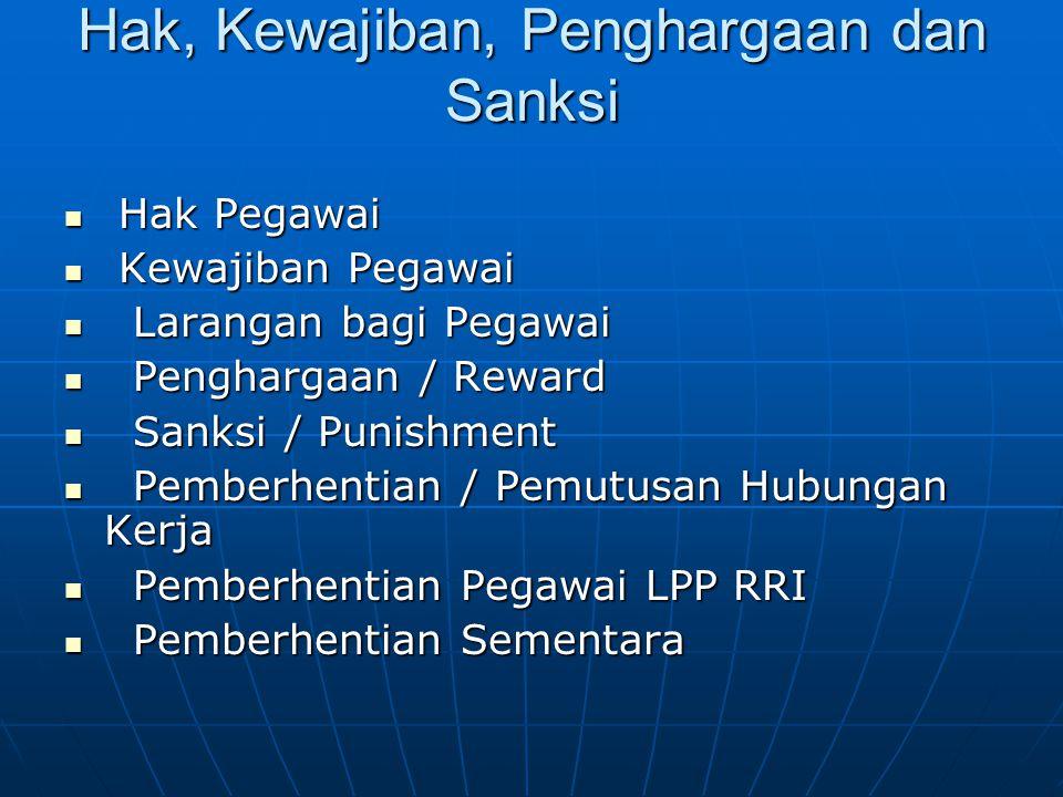 Hak, Kewajiban, Penghargaan dan Sanksi  Hak Pegawai  Kewajiban Pegawai  Larangan bagi Pegawai  Penghargaan / Reward  Sanksi / Punishment  Pember
